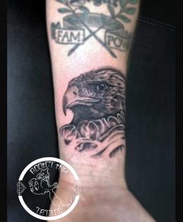 Tatouage tete aigle realiste noir et gris