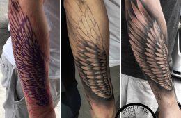 Tatouage aile realiste noir et gris bras homme