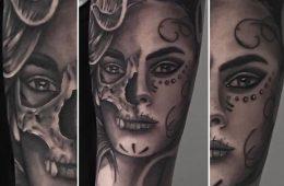 Tatouage Catrina Santa muerte crane skull avant bras homme